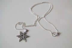 Silver Snowflake Necklace | Winter Snowflake Charm Necklace