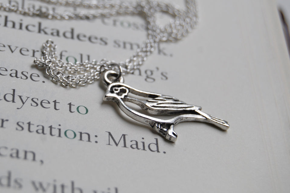 Silver Sparrow Necklace | Cute Bird Charm Necklace | Woodland Bird Necklace - Enchanted Leaves - Nature Jewelry - Unique Handmade Gifts