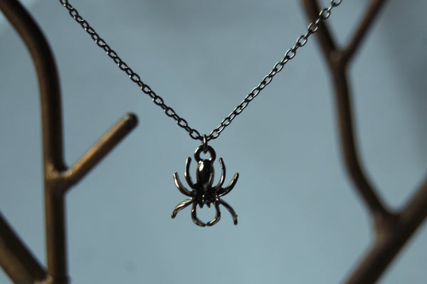 Spooky Spider Necklace | Cute Halloween Spider Charm Necklace - Enchanted Leaves - Nature Jewelry - Unique Handmade Gifts