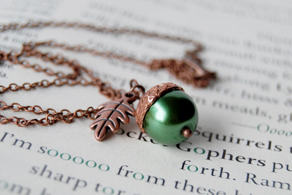 Spring and Copper Pearl Acorn Necklace | Cute Nature Acorn Charm Necklace | Fall Acorn Necklace | Woodland Pearl Acorn | Nature Jewelry - Enchanted Leaves - Nature Jewelry - Unique Handmade Gifts