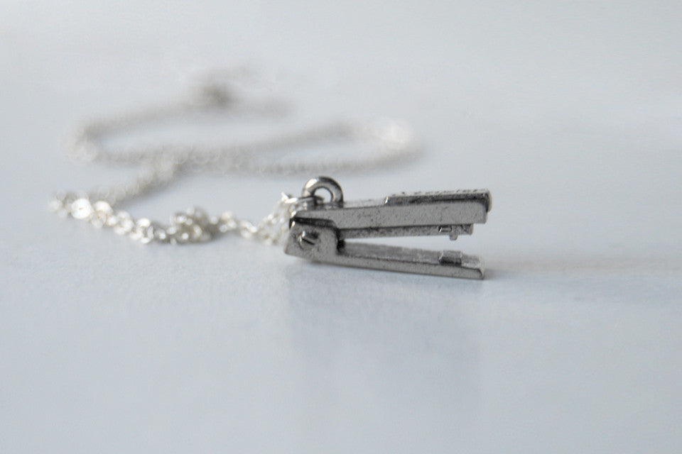 Tiny Silver Stapler Necklace - Enchanted Leaves - Nature Jewelry - Unique Handmade Gifts