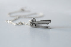 Tiny Silver Stapler Necklace