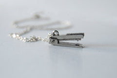 Pewter Stapler Necklace | Stapler Charm Necklace | The Office Jewelry