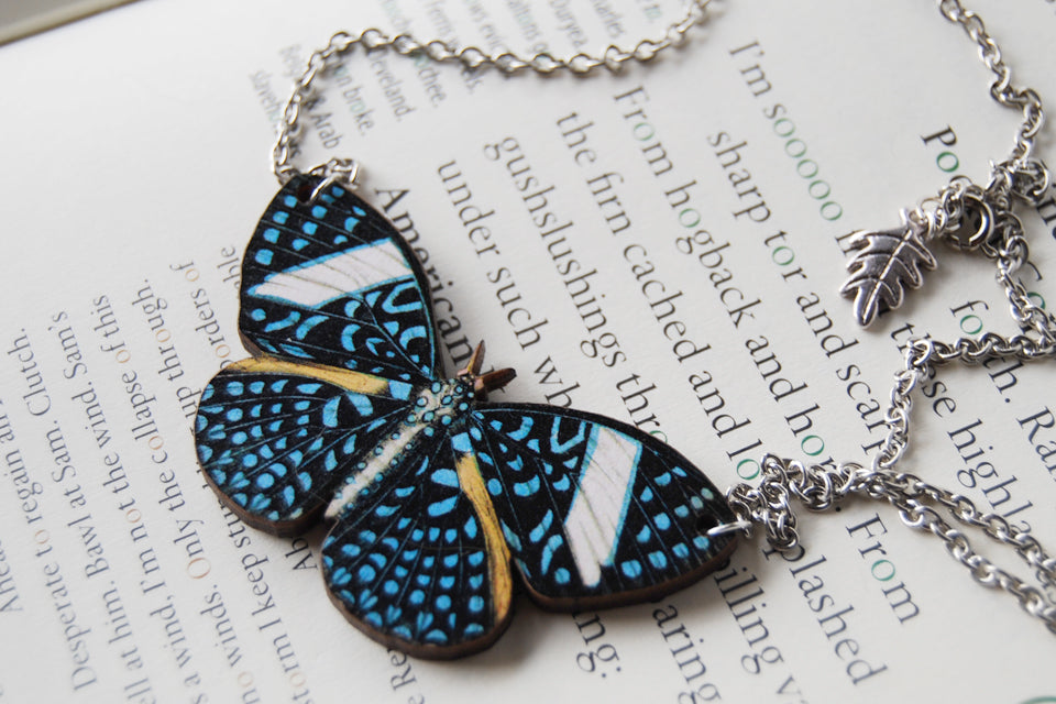 Starry Night Butterfly Necklace | Blue Butterfly Pendant | Woodland Butterfly Jewelry - Enchanted Leaves - Nature Jewelry - Unique Handmade Gifts