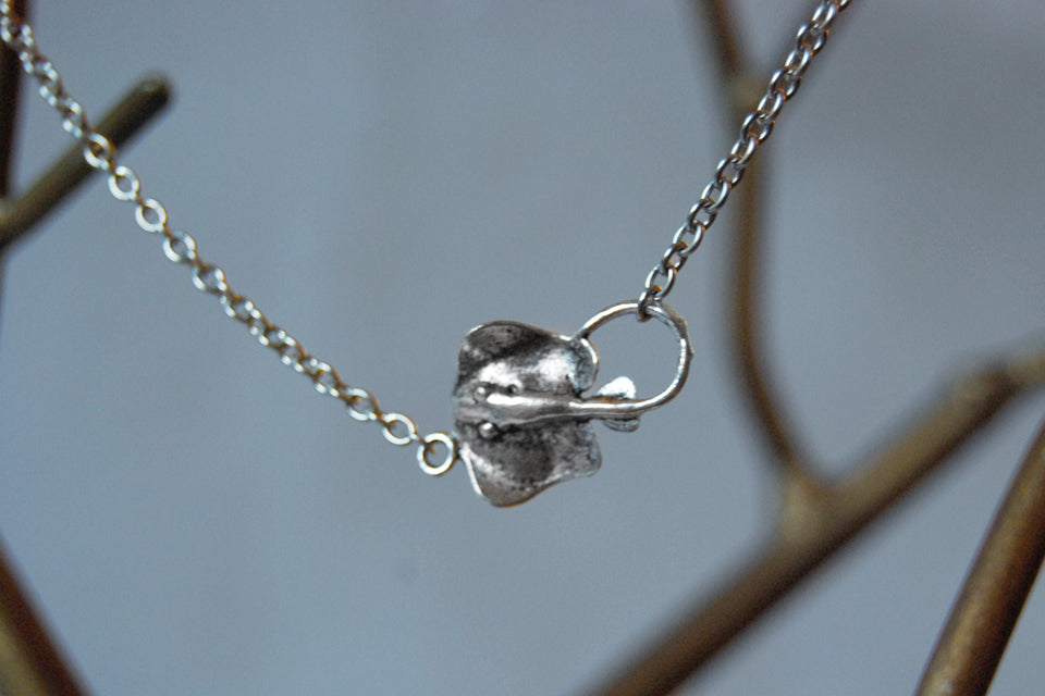 Sting Ray Necklace | Silver Stingray Charm Necklace | Nautical Jewelry - Enchanted Leaves - Nature Jewelry - Unique Handmade Gifts