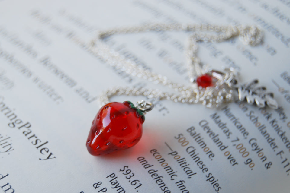 California Strawberry Necklace | Red Strawberry Charm Jewelry | Fruit Necklace - Enchanted Leaves - Nature Jewelry - Unique Handmade Gifts
