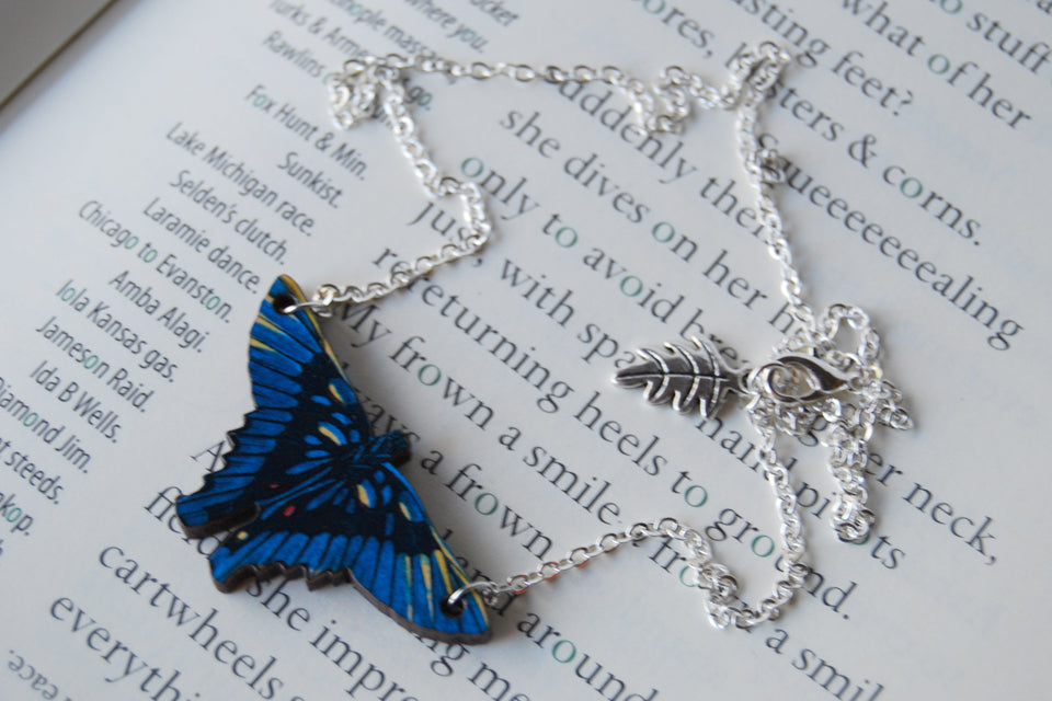 Swordtail Butterfly Necklace - Enchanted Leaves - Nature Jewelry - Unique Handmade Gifts