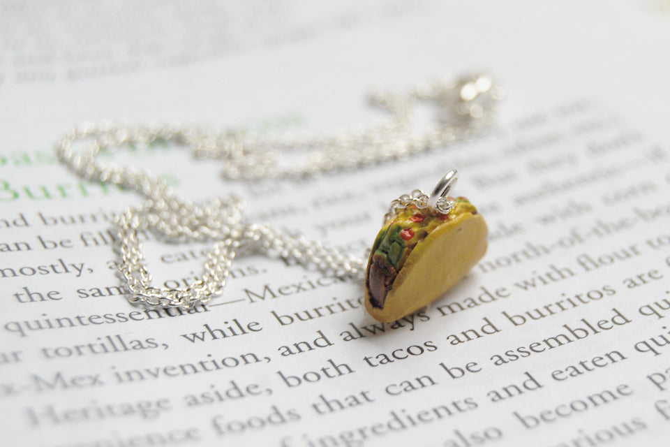 Tiny Crunchy Taco - Enchanted Leaves - Nature Jewelry - Unique Handmade Gifts