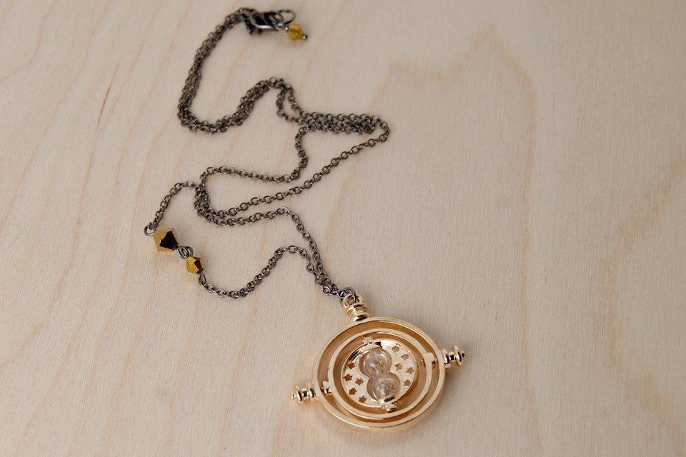 Golden Time Turner Necklace | Hermione Granger Cosplay | Harry Potter Necklace - Enchanted Leaves - Nature Jewelry - Unique Handmade Gifts