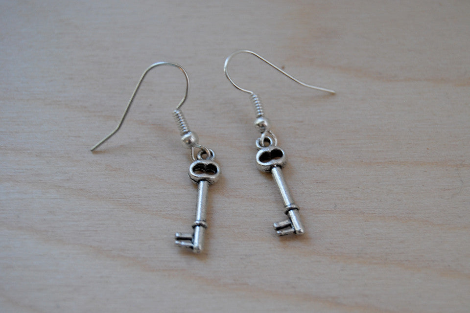 Tiny Skeleton Key Earrings - Enchanted Leaves - Nature Jewelry - Unique Handmade Gifts