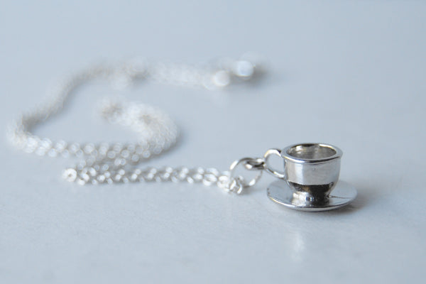 Little Tea Cup and Saucer Necklace | Teacup Charm Necklace | Cute Miniature Jewelry - Enchanted Leaves - Nature Jewelry - Unique Handmade Gifts