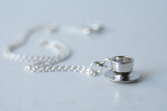Little Tea Cup and Saucer Necklace | Teacup Charm Necklace | Cute Miniature Jewelry