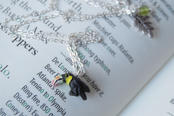 Tiny Toucan Necklace - Enchanted Leaves - Nature Jewelry - Unique Handmade Gifts