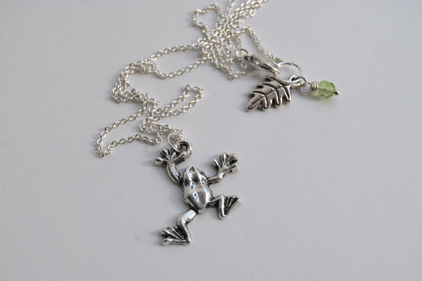 Tree Frog Necklace - Enchanted Leaves - Nature Jewelry - Unique Handmade Gifts