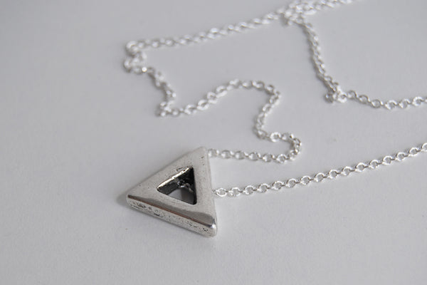 Silver Triangle Necklace | Minimalist Necklace | Silver Shape Charm Necklace - Enchanted Leaves - Nature Jewelry - Unique Handmade Gifts