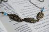 Triple Brass Feather Necklace - Enchanted Leaves - Nature Jewelry - Unique Handmade Gifts