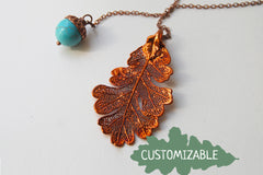 Copper Acorn and Oak Leaf Lariat | Autumn Jewelry | Electroformed Necklace | Fall Leaf Necklace
