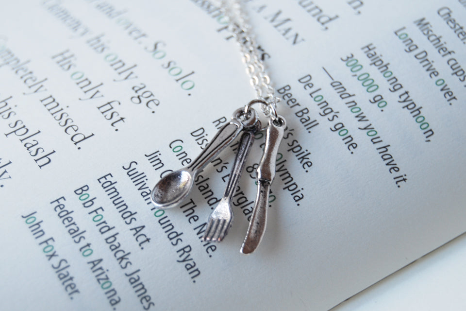 Bon Appétit! | Utensil Charm Necklace | Fork Spoon and Knife Necklace - Enchanted Leaves - Nature Jewelry - Unique Handmade Gifts