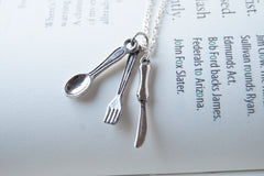 Bon Appétit! | Utensil Charm Necklace | Fork Spoon and Knife Necklace