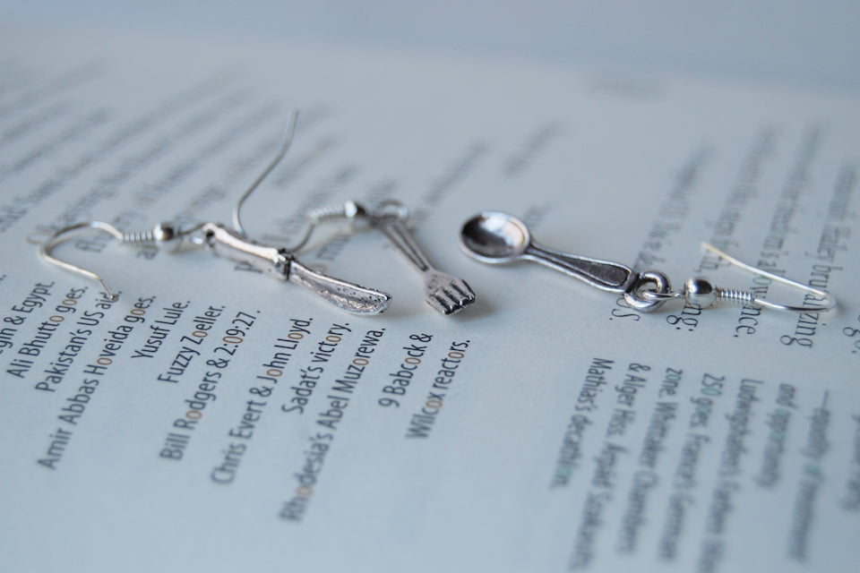 Bon Appétit Earrings | Utensil Set Earrings | Spoon Fork and Knife Charm - Enchanted Leaves - Nature Jewelry - Unique Handmade Gifts