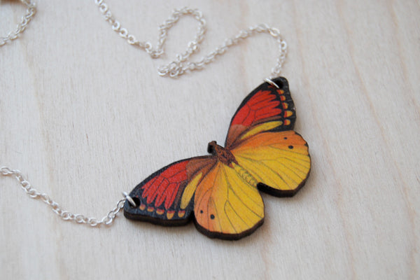 Vibrant Yellow Butterfly Necklace | Wooden Butterfly Pendant | Woodland Insect Butterfly Art Jewelry - Enchanted Leaves - Nature Jewelry - Unique Handmade Gifts