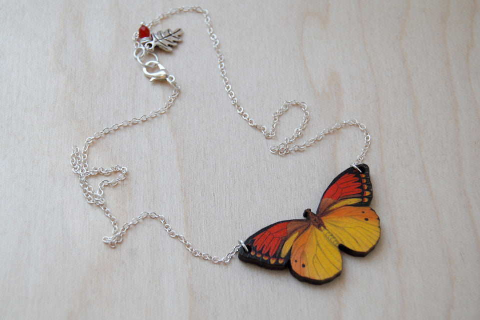 Vibrant Butterfly Necklace - Enchanted Leaves - Nature Jewelry - Unique Handmade Gifts