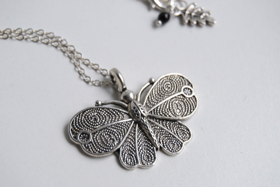 Vintage Style Butterfly Necklace - Enchanted Leaves - Nature Jewelry - Unique Handmade Gifts