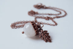 White Moonstone and Copper Acorn Necklace
