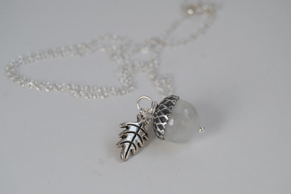 White Moonstone and Silver Acorn Necklace - Enchanted Leaves - Nature Jewelry - Unique Handmade Gifts