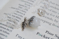 White Moonstone and Silver Acorn Necklace
