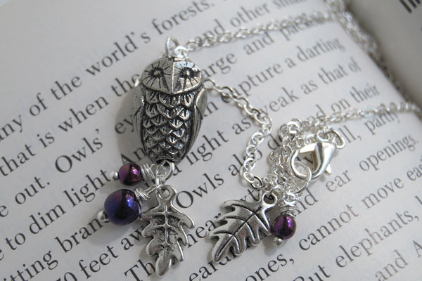 Silver Woodland Owl Necklace | Owl Charm Necklace | Forest Jewelry - Enchanted Leaves - Nature Jewelry - Unique Handmade Gifts