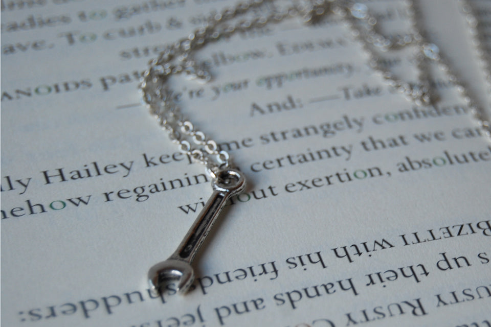 Tiny Silver Wrench Necklace | Silver Wrench Charm Necklace | Tool Jewelry - Enchanted Leaves - Nature Jewelry - Unique Handmade Gifts