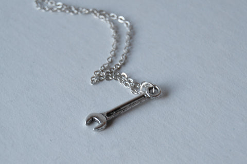 Tiny Silver Wrench Necklace