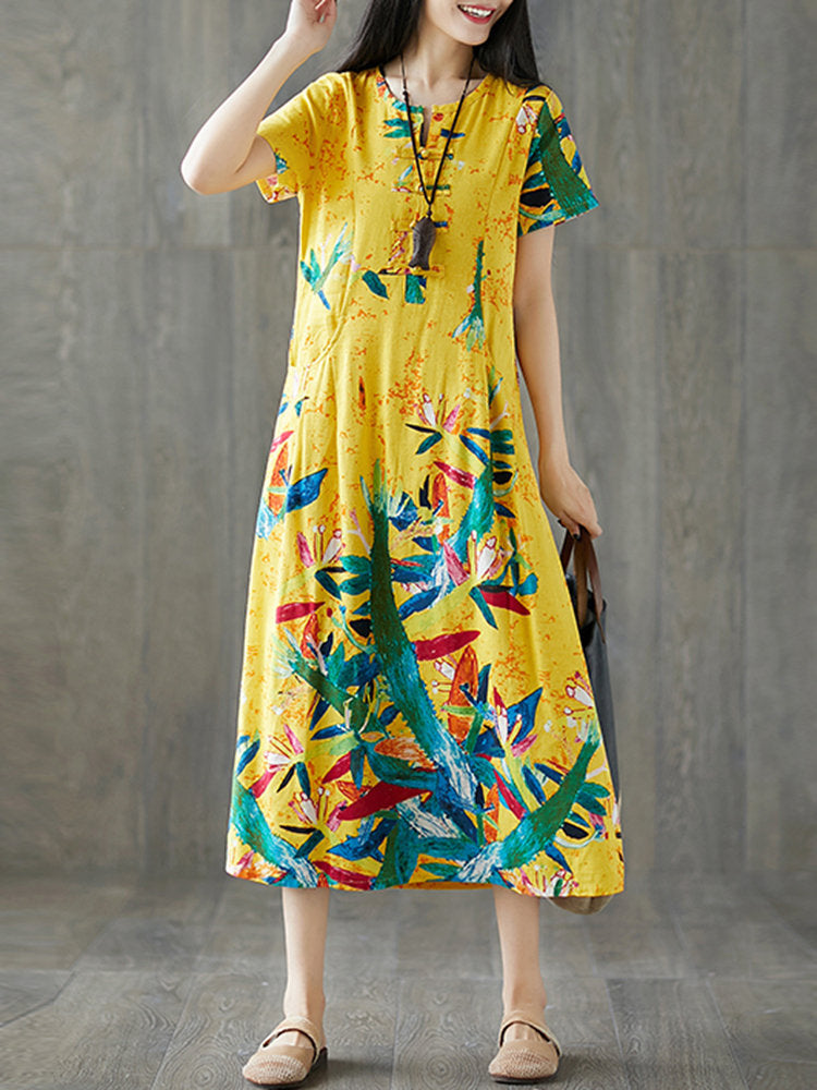 Frog Button Print Short Sleeve O-neck Vintage Dresses