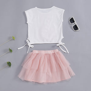 Cute Rabbit Girls Summer Clothes Sets( Printed Tops + Short Skirt ) For 1-7Years