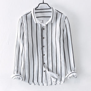 Casual Breathable Linen Shirt Striped Loose Shirt for Men