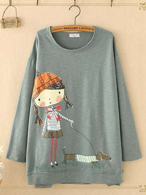 O-neck Cartoon Print Long Sleeve Casual Sweatshirts