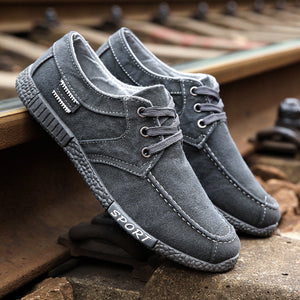 Men Old Beijing Style Canvas Breathable Lace Up Casual Shoes