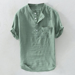 Mens 100% Cotton Breathable Vintage Chinese Style Solid Color Loose Casual Buttons T Shirts