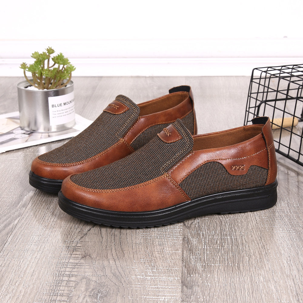 Large Size Men Color Blocking Old Peking Style Colth Casual Shoes