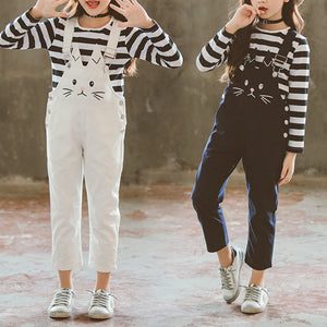 Cute Cat Embroidery Girls Striped T-Shirt + Suspender Pants Sets For 6Y-15Y