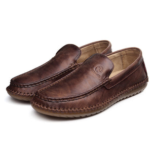 Men Hand Stitching Leather Slip On Soft Sole Casual Driving Shoes