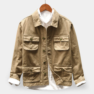 100% Cotton Multi Pockets Turn Down Collar Single Breasted  Jacket for Men