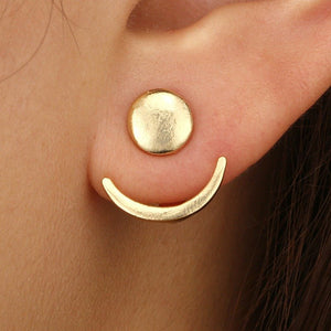 Fashion Moon Earrings Horn Rivet Rear Hanging Earrings Alloy Personality Women Earrings
