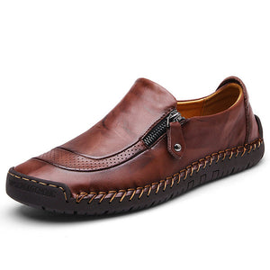 Menico Men Hand Stitching Zipper Slip-ons Leather Shoes