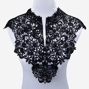 Black & Off White Embroidery Big Flowers Lace Neckline Fabric Closure DIY Collar Lace Fabrics