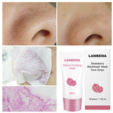 LANBENA Strawberry Blackhead Masks Remover Acne Treatment Nose Mud Pore Strip Black Mask Peel Off