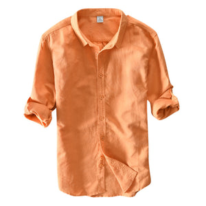 Mens Breathable Comfy Solid Color Long Sleeve Casual Cotton Shirts