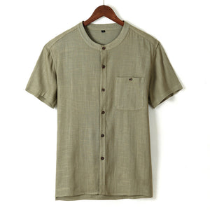 Men Casual Pure Color Button Up 100%Cotton Shirts With Chest Pocket