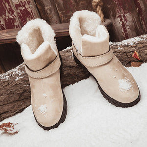 Big Size Suede Warm Lined Strappy Ankle Slip On Flat Snow Boots